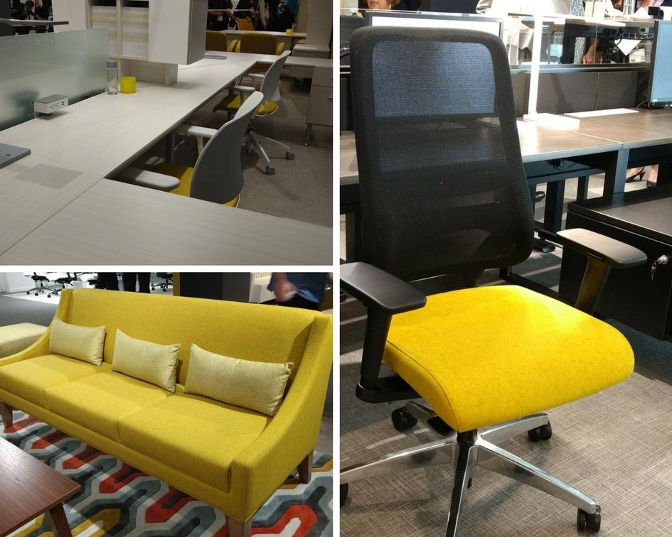 Modern benching, Mid-century style lounge, and ergonomic chairs