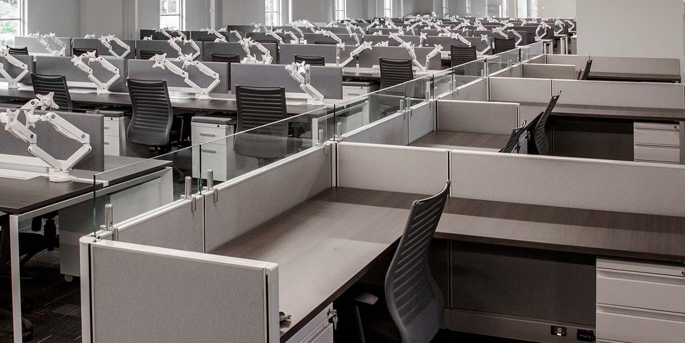 Rows of organized workstations